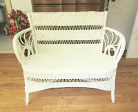 Vintage Wicker Loveseat / Patio Sofa
