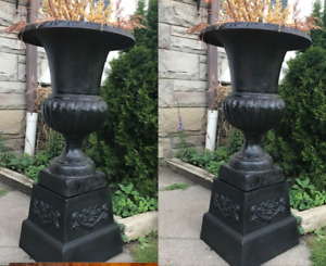 "Large Pair 30"" CAST IRON URNS  Holiday Decor  (Free Delivery)"
