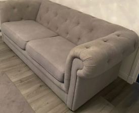 Grey 3 + 2 Chesterfield sofas £280 can deliver
