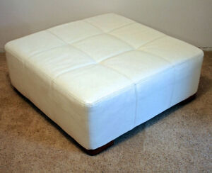 Nice Large White Leather Ottoman SEE VIDEO