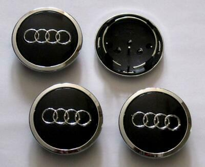 4pcs Black/Chrome Wheel Rim Center Replacement Hub Caps for Audi 69MM 4B0601170A
