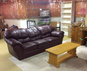 Leather Sofa Couch  $99  TEXT ME  Plush Comfy Three Seater