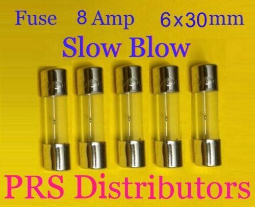 Fuse 8A 250V 6X30mm SLOW BLOW Glass Fuse AGC 8 Amp 250 Volt 5 pieces USA SELLER