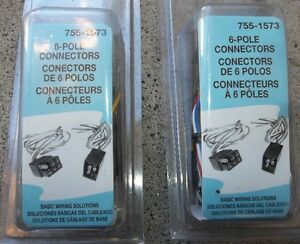 2 - 6 POLE SQUARE CONNECTOR PLUG KITS ( snow plow lights )