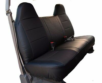 - FORD F-250 350 BLACK LEATHER-LIKE CUSTOM MADE FIT FRONT BENCH SEAT COVER