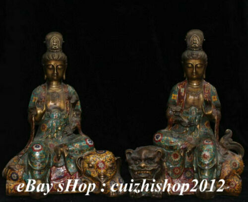 Chinese Copper Cloisonne Wenshu Manjushri Samantabhadra Bodhisattva Statue Pair