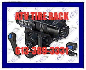 ATV Winch w Synthetic Rope KFI Stealth ATV TIRE RACK LOWEST PRIC