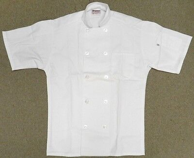 Chef Jacket L Uncommon Threads 415 White Short Sleeve Coat Uniform Unisex New