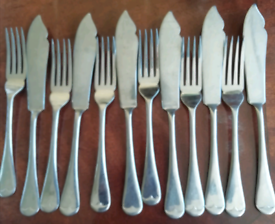6 fish knives and 6 forks