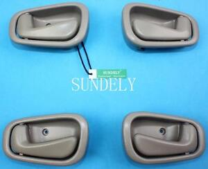 4pcs Beige Inside Door Handle Fit For Toyota Corolla 1998 1999 2000 2001 2002