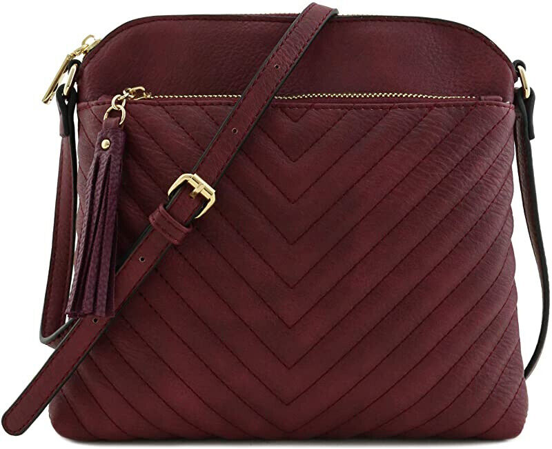 women s quilted faux leather medium crossbody