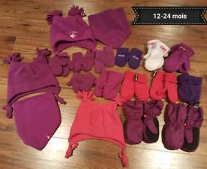 Tuques, cache-cou et mitaine pour bébé fille