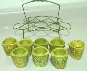 Vintage Green Ceramic Egg Cups Set With Salt & Papper Shakers