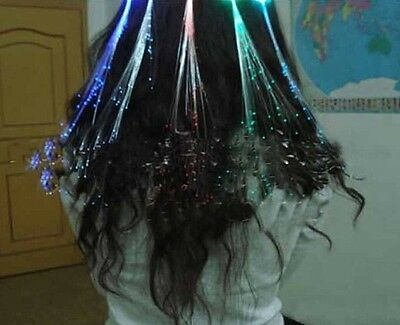 LOT Led Fiber Optic Light Up Flashing Hair Clip Extension Party Props Gifts - Fiber Optic Toy