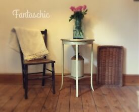 Small round side table - shabby chic