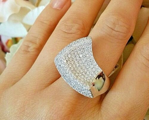 Diamond Pave Wave Ring in18k White Gold 2.50 cttw ITALIAN - HM1521