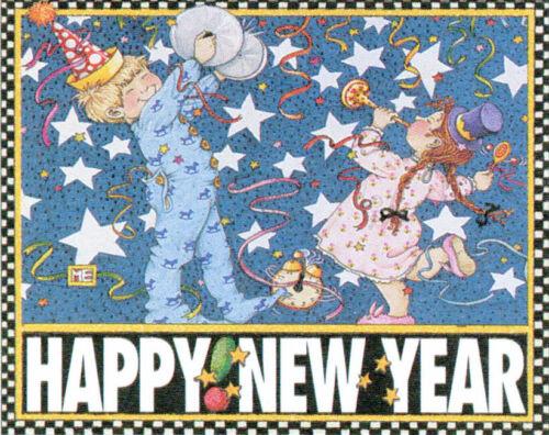 HAPPY NEW YEAR!-Handcrafted Fridge Magnet-W/Mary Engelbreit art