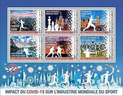 Djibouti 2021 MNH Corona Stamps Sports Tokyo 2020 Olympics Tennis Chess 6v M/S