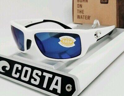 COSTA DEL MAR white/blue mirror FANTAIL POLARIZED 580P sunglasses! NEW IN (Costa Fantails)