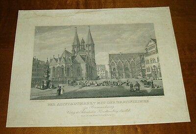 Der Altstadtmarkt mit der Martinikirche zu Braunschweig, Stahlstich