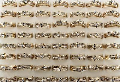 Wholesale Bulk Lots 25SET Rhinestone 3pcs in 1 Gold P Noble Classic Women Rings - Rings In Bulk
