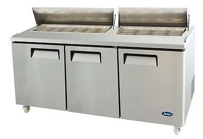 72 Commercial Mega Top Refrigerated Salad Sandwich Prep Table - 3 Doors