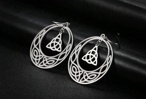 STAINLESS STEEL CELTIC Knot Triquetra Crescent moon  Earrings