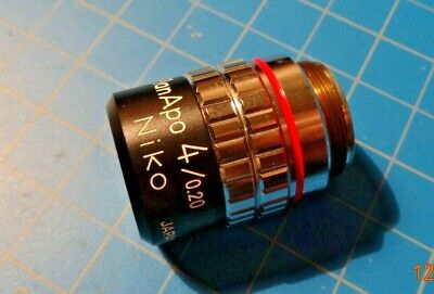 Nikon 4x Phase Microscope Objective Lens Phl Plan 4 0.13 Dl 160-