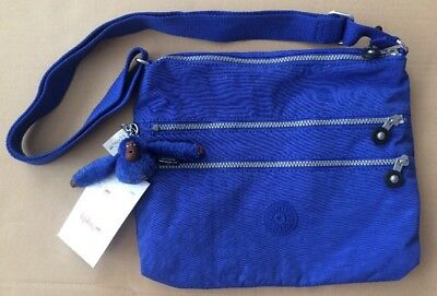 KIPLING Alvar 3 Zip Bag NWT Glass Bottom Blue GORILLA FIE Key (Gorilla Chalk Bag)