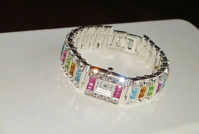 SUPERIOR~MULTICOLORED~AUSTRIAN CRYSTAL SILVER TONE LADIES BRACELET WATCH NEW