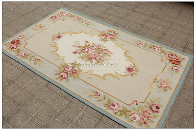 3X5 Simplification BLUE CREAM French Aubusson Area Rug SHABBY PINK CHIC ROSES Wool Woven
