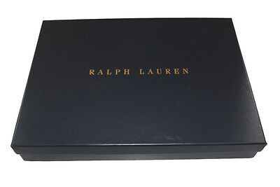 Ralph Lauren Navy Blue Gift Box with Gold Logo & Ribbon - Gold Gift Box