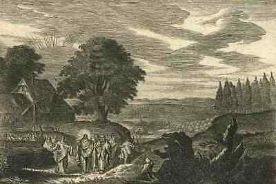 Melchior KÜSEL - 1680 OriginalKupferstich zum MARCUS EVANGELIUM Cap.10 Seite74 (Marcus Seite)