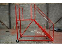 Mobile large safety warehouse steps, Red