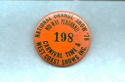 Vintage Carnival. Employee Badge - West Coast Shows - Carnival Time Shows 1978