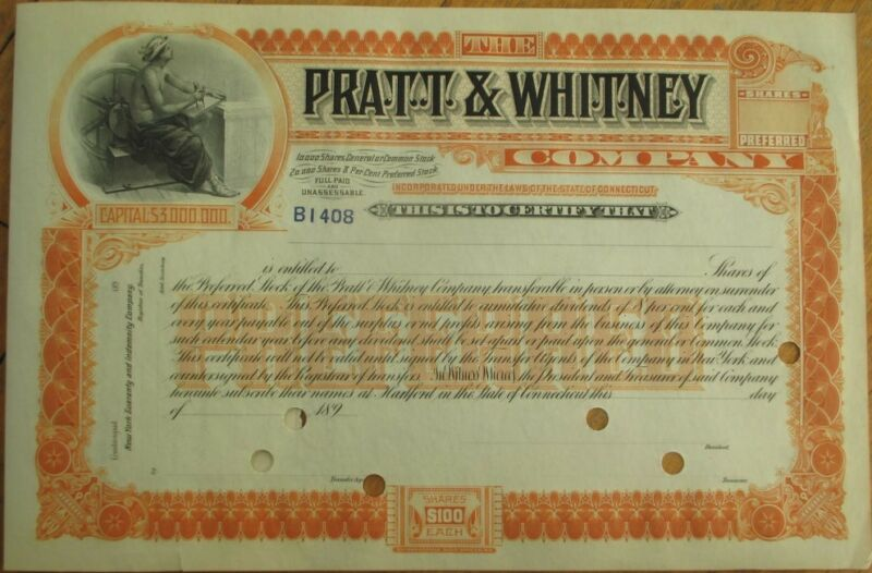 Pratt & Whitney Co. 1890 Stock Certificate - Aviation/Aerospace