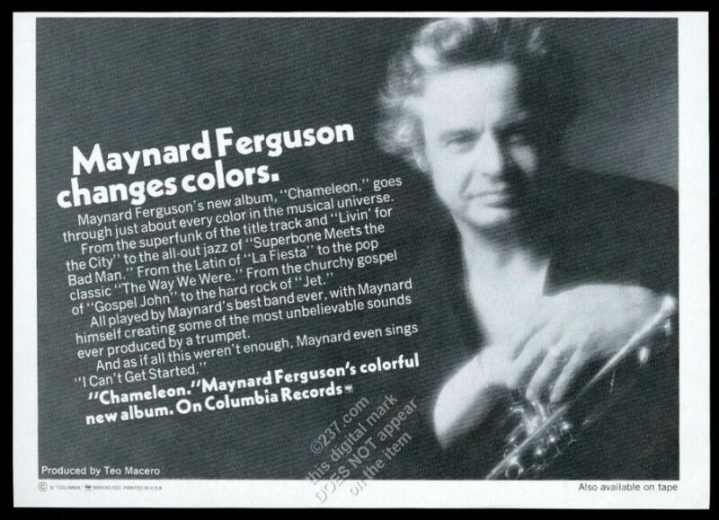 1974 Maynard Ferguson photo Chameleon album release vintage print ad