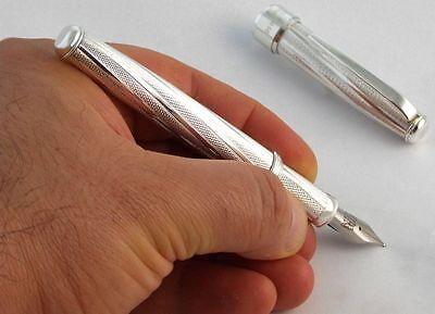 Royal Helix 925 Silver Fountain Pen M Nib Cartridges and Converter