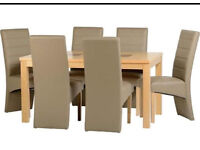 """Wexford 59"""" Dining Table With 6 Taupe Leather Chairs"""