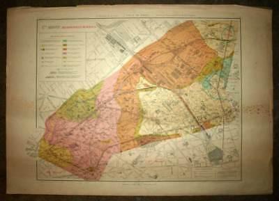 Plan antique card location of the 17eme XVII district de Paris 1924