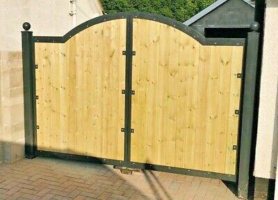 wood panel curve top driveway gates metal frame galvanized heavy duty custom