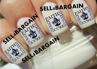 COLON CANCER BLUE RIBBON FAITH CURE COURAGE STRENGTH LOGO》 Nail Art Decals (Colon Cancer Tattoos)