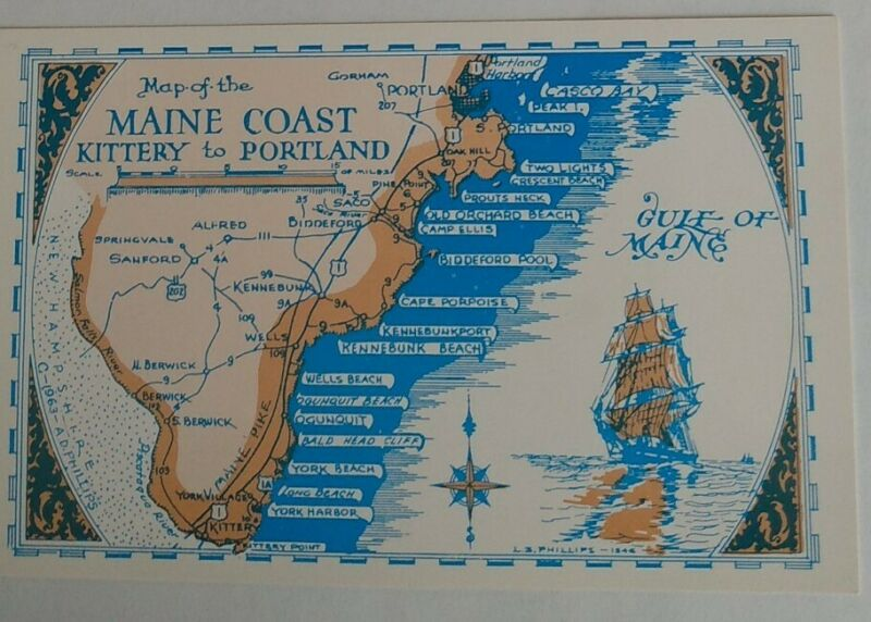 "Map Poster ""Maine Coast - Kittery to Portland"""