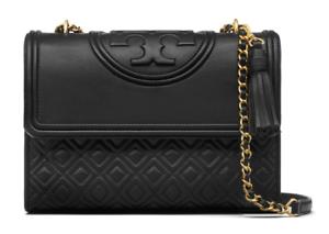 B12 Tory Burch Fleming Black Leather Convertible Shoulder Bag