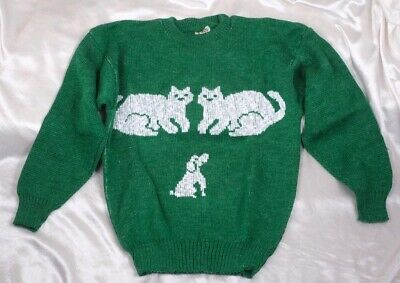 New Vintage Hand To Hand Designs Green with White Cats & Dog Sweater Jumper Top