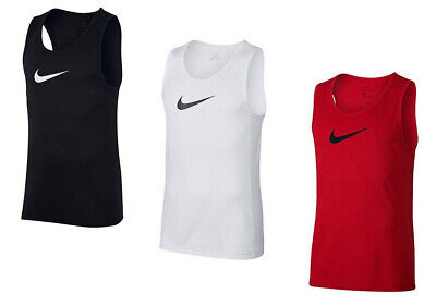 NIKE MEN'S BASKETBALL TRAINING TANK SLEEVELESS TEE M L XL XXL WHITE BLACK -