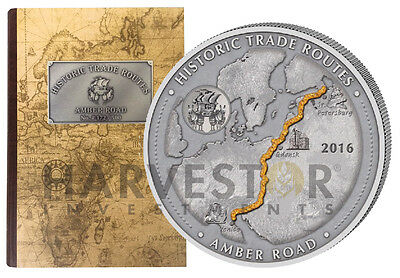 2016 Historic Trade Routes   Amber Road   5 Oz  Silver Coin With Case   Coa New