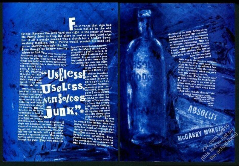 2000 Absolut McGarry Morris vodka bottle art and story vintage print ad