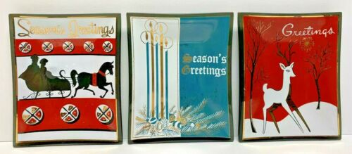 Vintage Smoke Glass Seasons Greetings Reindeer Christmas Candy Dish Tray Gold