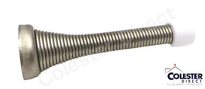 "Qty 10 Brushed Nickel Flexible Spring Door Stop Stopper 3 1/8"" Rubber Tip"